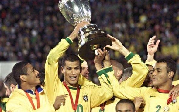 Brazil lifting the Copa America Trophy