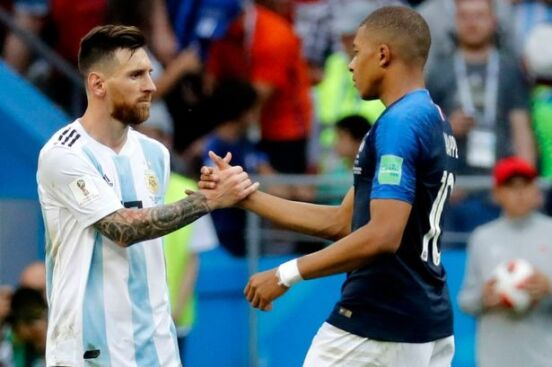 Messi and Mbappe at 2018 FIFA World Cup