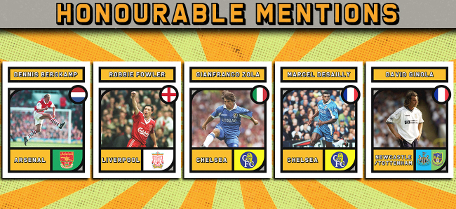 Honourable mentions Premier League Team of the 1990s