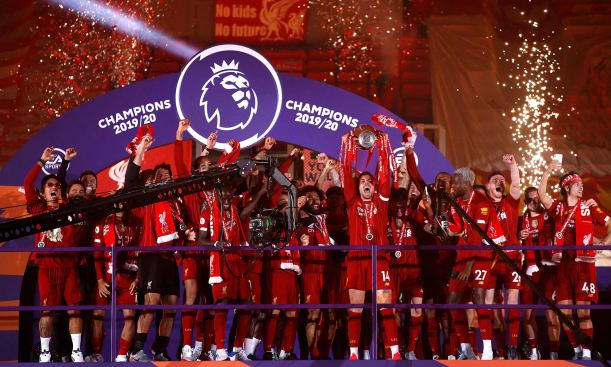 Liverpool lifting the Premier League in 2020