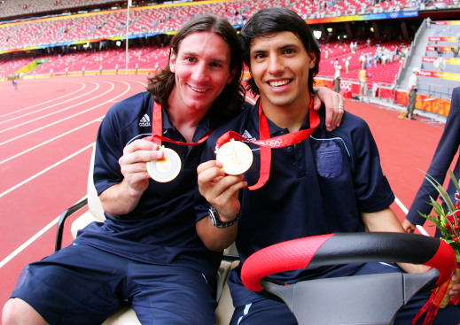 Messi and Aguero winning gold for Argentina at Olympics