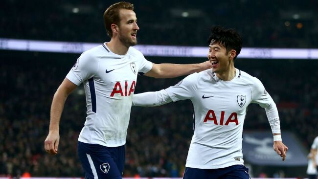 Harry Kane and Son celebrate