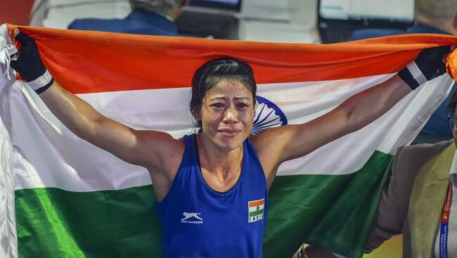Mark Kom with Indian Flag