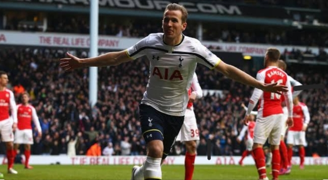 Harry Kane celebrating against Arsenal