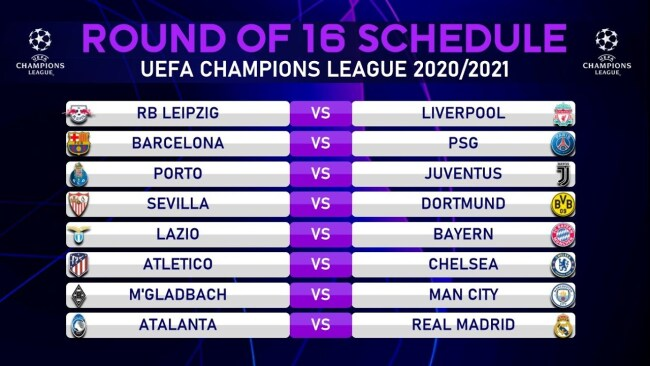 Uefa Champions League Round of 16 fixtures