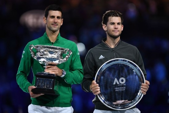Djokovic and Thiem during the closing ceremony of the Australian Open 2020