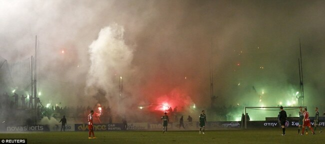 Explosive scenes during the match between Panathinaikos and Olympiacos