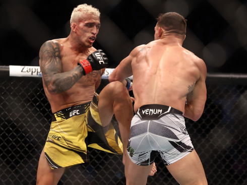 Charles Oliveira and Mike Chandler