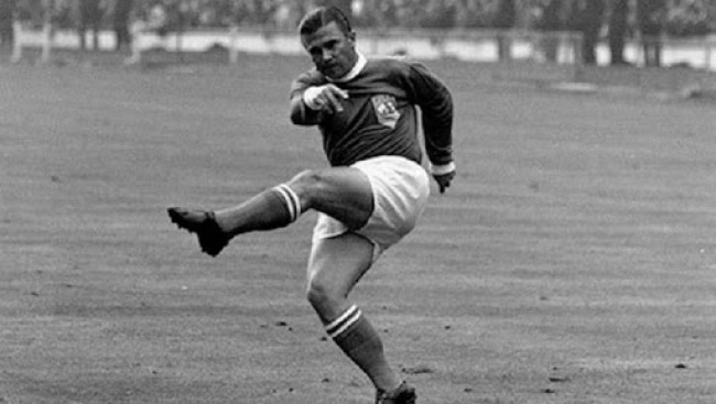 Ferenc Puskas fires one of his thunderous left foot shot