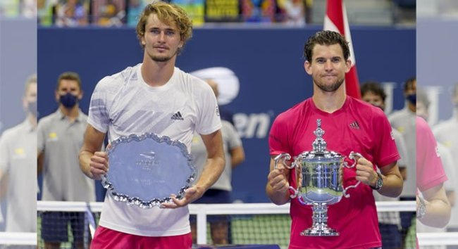 Thiem and Zverev during the closing ceremony at US Open 2020