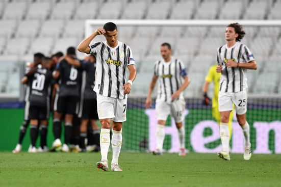 A frustrated Ronaldo after being eliminated by Lyon in the champions league
