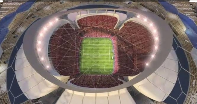 Aerial view of the Lusail Iconic Stadium in Qatar