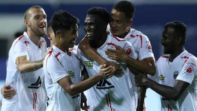 NorthEast United Players celebrating after scoring