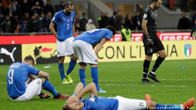 A dejected Italian team after failing to qualify for the 2018 World Cup