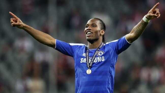 Didier Drogba after winning the Champions League for Chelsea