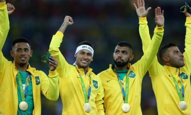 Brazil team winning Gold at Rio Olympics