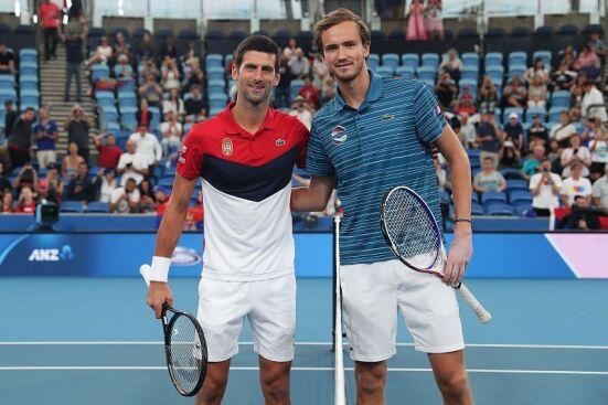 Djokovic and Medvedev at the ATP Cup 2020