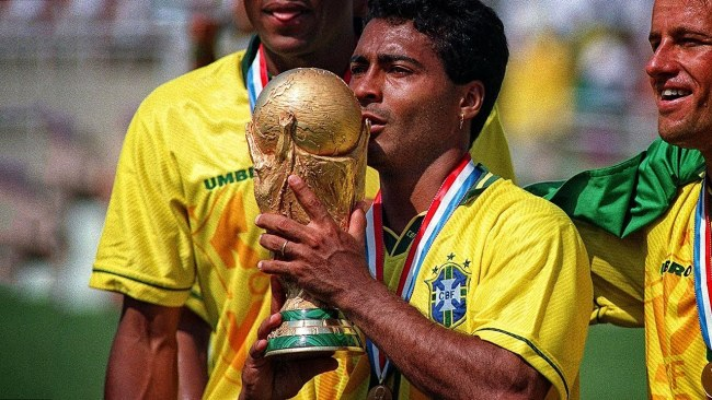 Romario lifting the World Cup for Brazil
