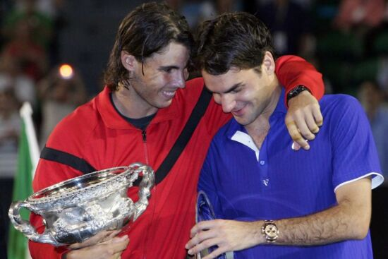 Nadal embraces Federer to console him after his defeat in the 2009 Australian Open finals