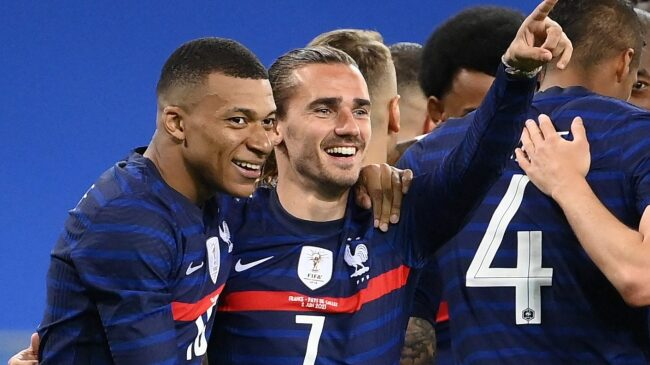 Mbappe and Griezmann celebrating at Euro 2020