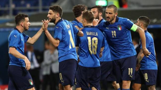 Italy team at the Euro 2020